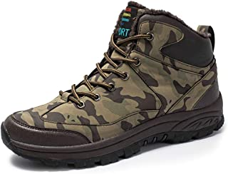 JIANKE Mens Winter Snow Boots Fur Lined Walking Boots Warm Camouflage Trekking Hiking Shoes