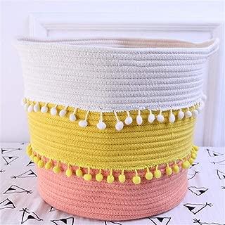 YOUEC Laundry Basket Cotton Rope Woven Tassel Basket with Handle Diaper Storage Box Round Toy  Nursery Laundry Storage Basket 33 30cm