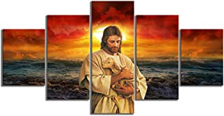 Jesus Holding a Sheep illustration 5 Pieces Religious Poster Modern Wall Decor Prints On Canvas Home Room Bedroom Decor Po...