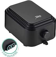 Hygger Quietest Aquarium Air Pump, Adjustable Oxygen Pump 2 Air Outlets Ultra Silent Powerful Aerator Pump 255GPH 10W for 20-600 Gallon Fish Tank