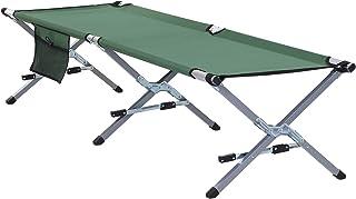 Outsunny Cama Acampada para Camping Plegable Aluminio Incluye Bolsa de Almacenamiento y Transporte Soporta un Máximo de 120kg Ligera Cómoda 3 Piernas 193x66x42cm Verde