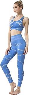 SUSIELADY Women's 2 Pieces Yoga Sports Suit Tie-Dye Printing Bra and High Waist Seamless Yoga Leggings Set