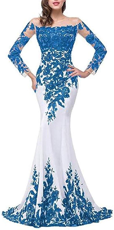 Emmani Women's Long Sleeve Bateau Mermaid Trailing Formal Evening Dresses