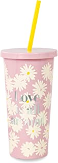 Kate Spade New York Insulated Tumbler with Reusable Silicone Straw, 20 Ounces, Love is All Around
