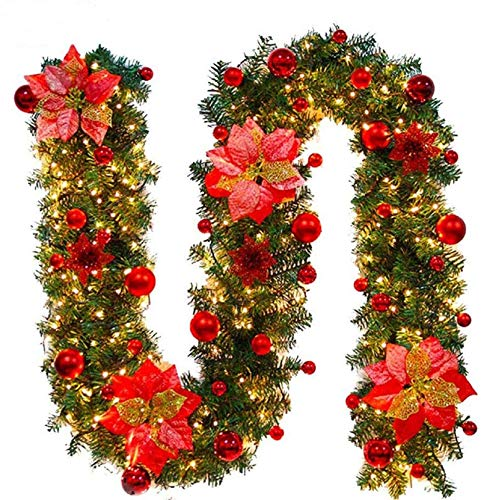 Faraone4w Guirlande de Noël, 2.7 m Noël Guirlande Artificiel Lumineuse De La Lampe LED Ornement Guirlande De Noël Décoration pour Arbre De Noël Porte Escalier Cheminée décorations de Noël (Or Rose)