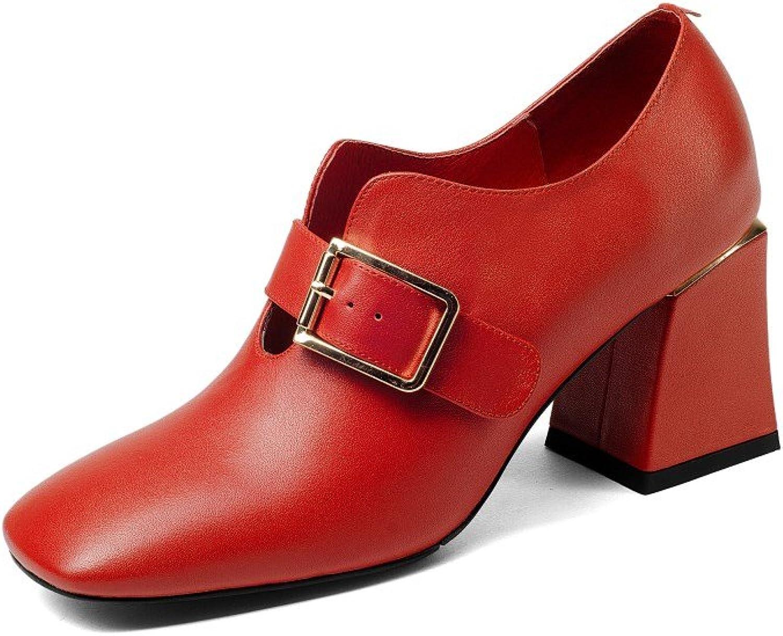 Nine Seven Genuine Leather Women's Square Toe Mid Chunky Heel Slip On Handmade Comfort Pumps