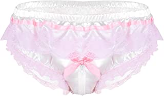 Men's Sissy Lingerie Satin Frilly Floral Lace Zipper Crotch Bikini Briefs Panties Underwear