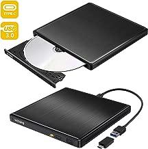 [2019最新型] dvdドライブ 外付け USB3.0 Type-C付 ポータブルCD DVD-RWドライブ スリムタイプ 読取・書込 Windows/Mac OS対応 書き込み