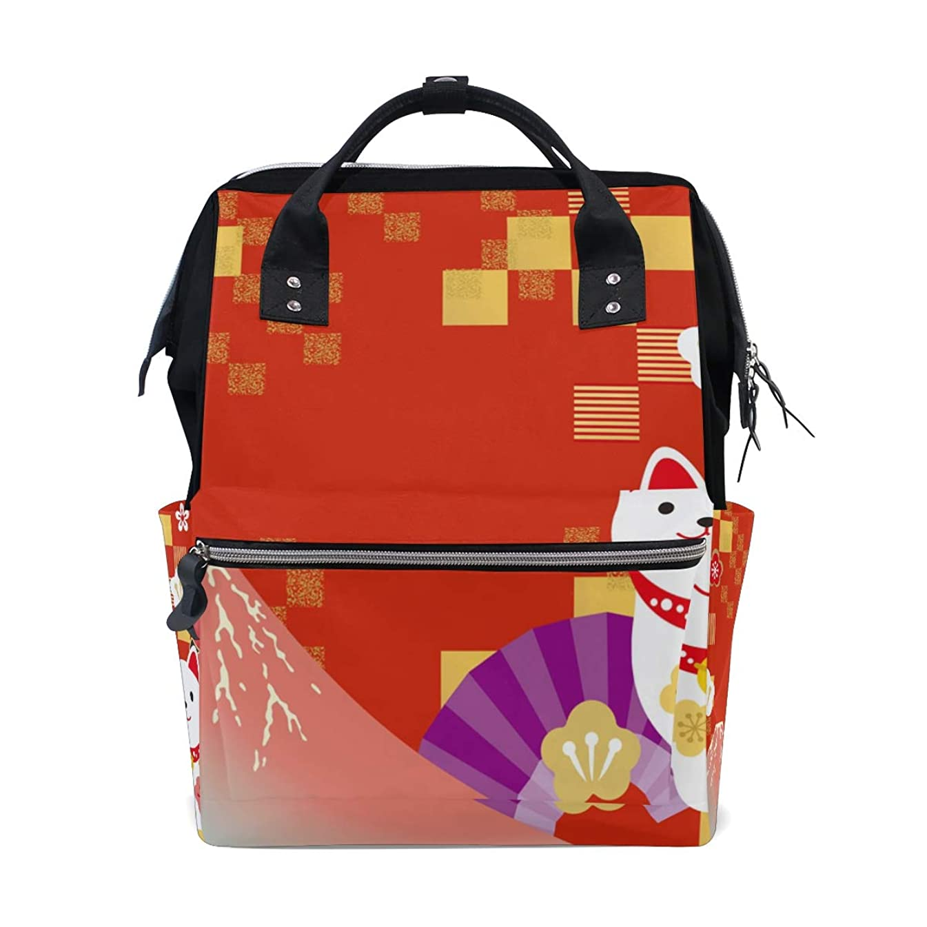 Red Japanese Cat Mount Fuji School Backpack Large Capacity Mummy Bags Laptop Handbag Casual Travel Rucksack Satchel For Women Men Adult Teen Children