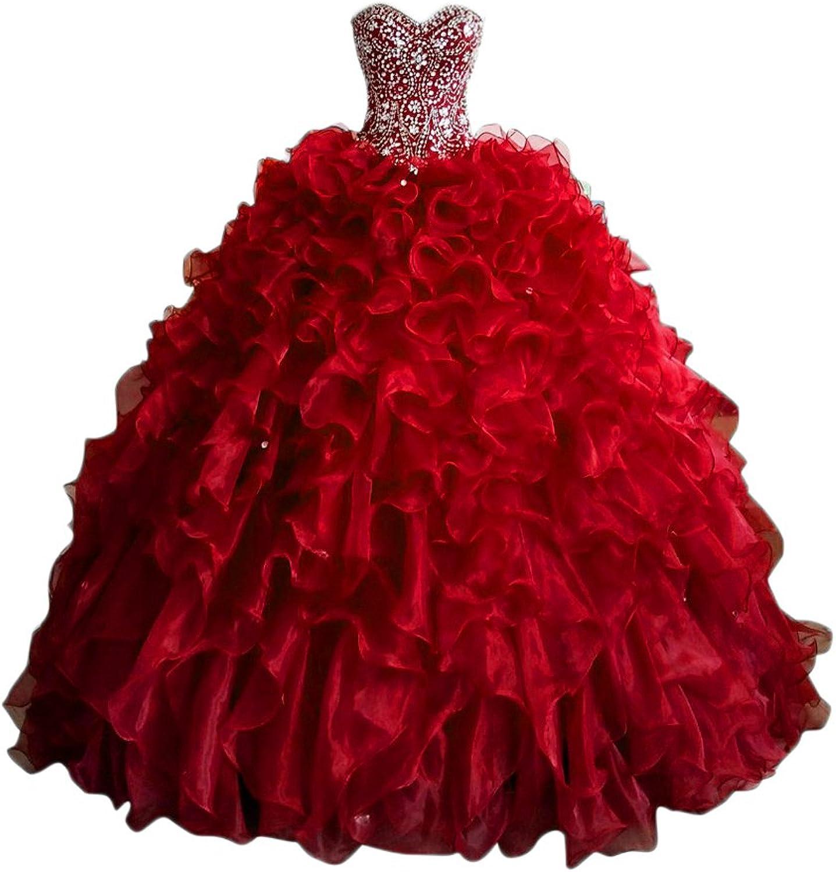 Beilite Luxury Quinceanera Dresses Beading Rhineston Ball Gown Dresses