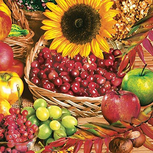 Servetten Napkins 33x33cm servettechniek fruit bessen mand zonnebloem