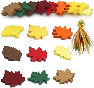 180PCS Thanksgiving Gift Tags, 9 Styles Colorful Maple Paper Leaves Gift Tags with 180PCS Organza Ribbon Perfect for Fall Wedding Party Favors Tags,Christmas Escort Cards Wishing Tree Tags