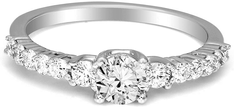 5/8 Carat - 3/4 Carat | 10K & 14K White Gold | IGI Certified Brilliant-Cut Lab Grown Diamond Solitaire Engagement Ring Pavé-Set |Friendly Diamonds