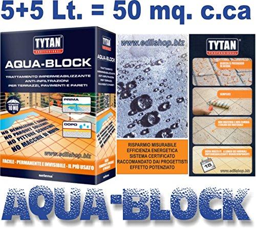 TYTAN AQUA-BLOCK TRATTAMENTO IMPERMEABILIZZANTE ANTI-INFILTRAZIONI TERRAZZE Idrorepellente in nanotecnologia Lt. 5+5 = 50 mq. c.ca