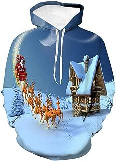 Hoodies for Men Pullover,Men Women 3D Printed Plus Velvet Hooded Sweatshirt Casual Hoodie Outwear with Big Pockets