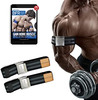BFR Bands Occlusion Training Bands, PRO Premium, 1 Set of Bands, Works For Arms OR Legs, Blood Flow Restriction Bands Help Gain Muscle without Lifting Heavy Weights, Strong Elastic Strap, Metal Buckle