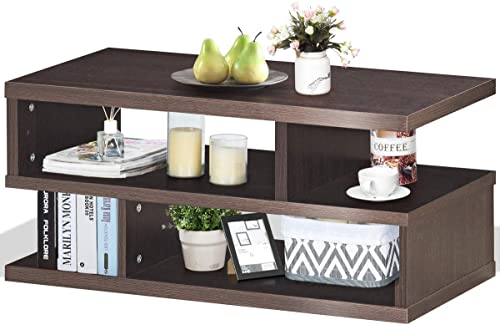 popular Giantex outlet online sale Coffee Table, Rectangular Tea Table with Storage Shelf, 3-Tier Sofa Table, Modern Console Table, sale Space Saving Organizer, Furniture for Home Living Room Office, Brown (Brown) sale