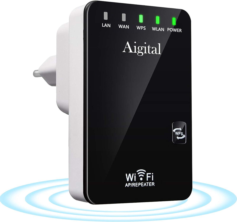 Aigital Repetidor de Red WiFi, Amplificador Señal de WiFi 300Mbps/2.4 GHz Extensor de Red WiFi Enrutador Inalámbrico con Largo Alcance Modo Punto de Acceso/Repeater/Router, 2 Puerto LAN/WAN, WPS