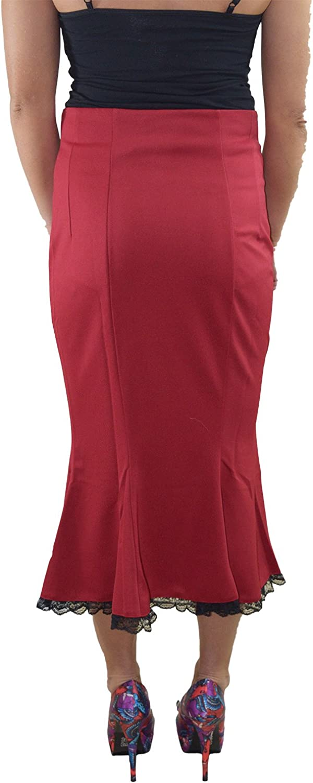 Skelapparel Vintage Style Retro Sailor Double Button Tulip Pencil Skirt Red