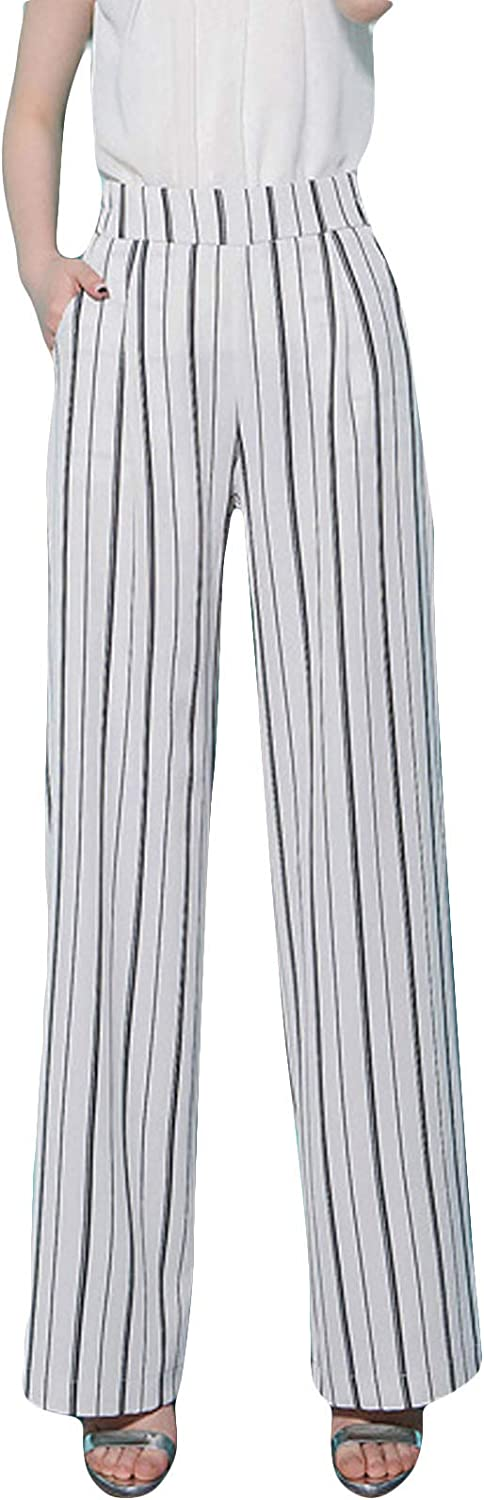 Flygo Women's Stripped Pants Casual High Waisted Wide Leg Palazzo Pants