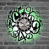 Njuxcnhg Vinyl Record Wall Clock-Kreative Hunde Digitale Zahlen LED Uhr Silent Puppy Record Clock Dekorative Antike Hanging Home Decor