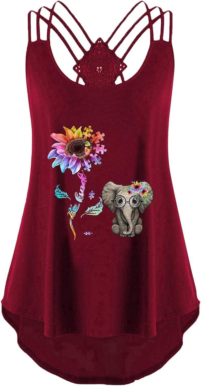 FABIURT Summer Tank Tops for Women, Womens Sunflower Printed Sleeveless T-Shirt Open Back Cross Loose Blouse Tunic Tops