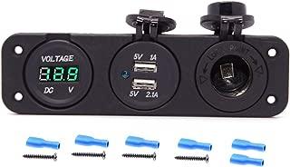 Cllena Triple Function Dual USB Charger + Green LED Voltmeter + 12V Outlet Socket Panel Jack Marine for Digital Devices Mobile Phone Tablet