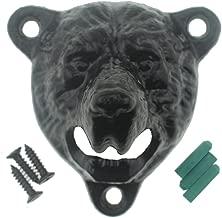 Abrebotellas de hierro fundido para montar en la pared, diseño de oso de peluche (oso negro)
