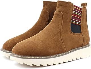 [花千束_シューズ] レディース 冬 弾性バンド 暖かい 雪ブーツ 大きいサイズ 冬靴 スノーブーツ 厚底 丸トウ ショートブーツ