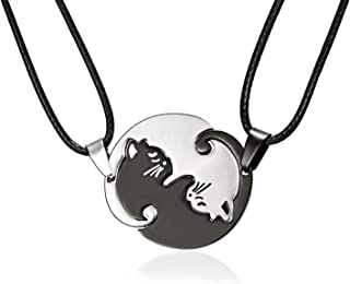 Pair Cat Couple Necklace Stainless Steel Ying Yang Friendship Cute Pet Cat Pendant for Lover Friend Family
