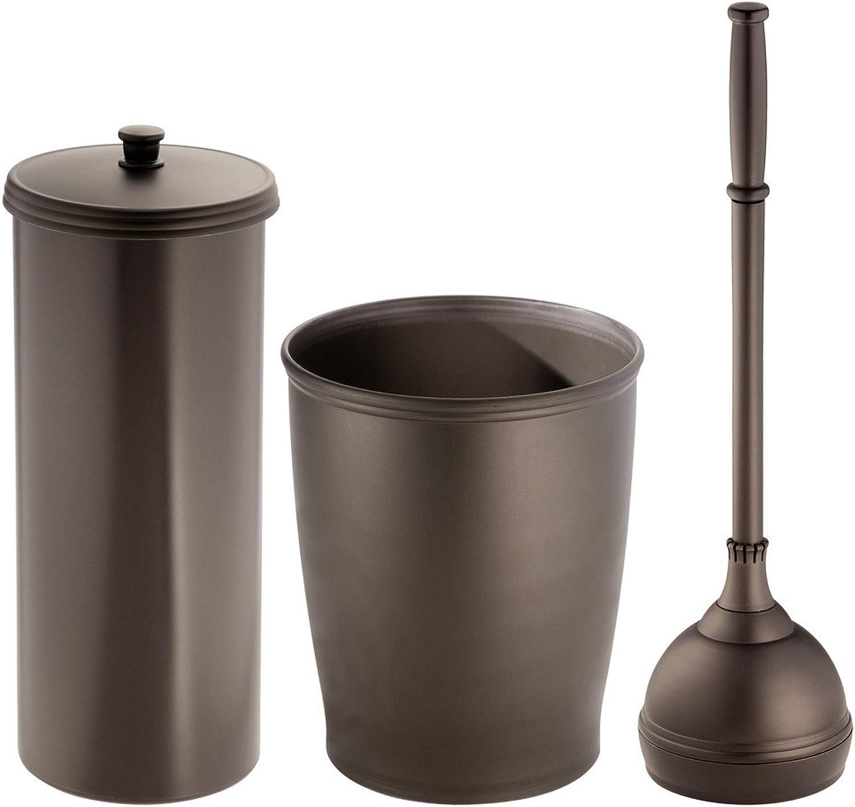 InterDesign Plunger, Toilet Paper Holder, Wastebasket Trash Set of 3, Bronze Kent TTR Canister, Plunger & Waste Can C3, 3 Piece