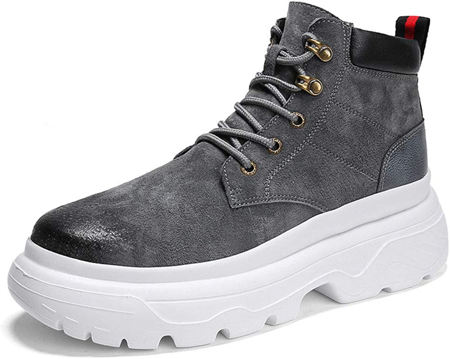 Men's Boots, Leather Fall Winter Fashion Korean Casual Hair Stylist Tide shoes High Help Martin Boots Comfortable Running Boot Walking Boot Hiking Boot High-Top Boot XUE (color   A, Size   42)