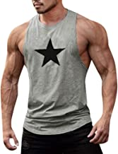 Mens Summer t Shirts Short Sleeve,Wild Men Fitness Muscle Print Sleeveless Bodybuilding Tight-Drying Vest Tops Blouses