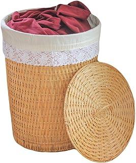 Panier à linge XINYALAMPLaundry Panier New Bambou et Le rotin tissé Ronde avec Couvercle Hamper Grand ménage vêtements Sal...