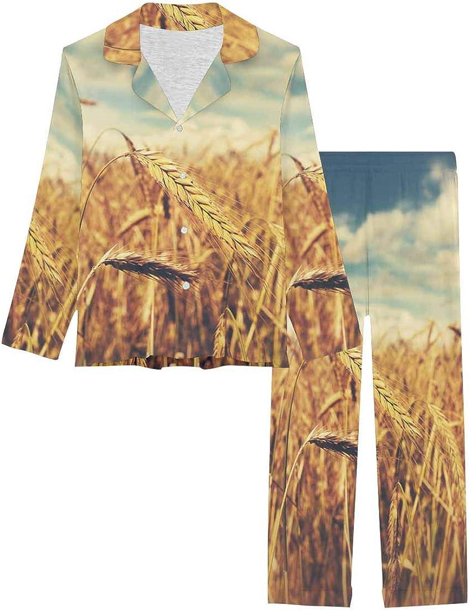 InterestPrint Women's Button Down Max 85% OFF Sleepwear Pan Set Fashion Long with Pj