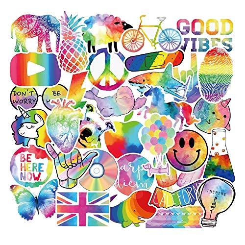 JZLMF Colorful Rainbow Stickers Vinyl Decals For Water Bottle Teens Girls Laptop Suitcase Bumper Helmet Ipad Phone Car Luggage 50 Pcs