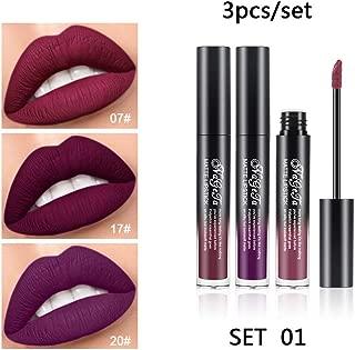 3PCS Matte Liquid Lipstick Set Bellesky 24 hours Long Lasting Lipstick Set Nude Velvet Waterproof Non-Stick Cup lip gloss Cosmetic