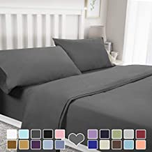 BYSURE 4 Piece Luxury Bed Sheet Set - Soft Durable Brushed Microfiber 1800 Thread Count Bedding Sheets with 15 Inch Deep Pockets, Wrinkle & Fade Resistant(Queen, Gray)