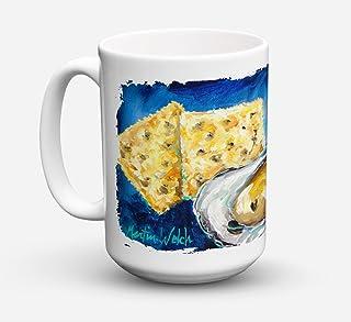 Caroline's Treasures MW1089CM15 Oysters Two Crackers Microwavable Ceramic Coffee Mug, 15 oz, Multicolor