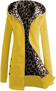 a2060c75eeda Perman Women Warm Velvet Thickened Leopard Hooded Sweater Zipper Coat  Outerwear