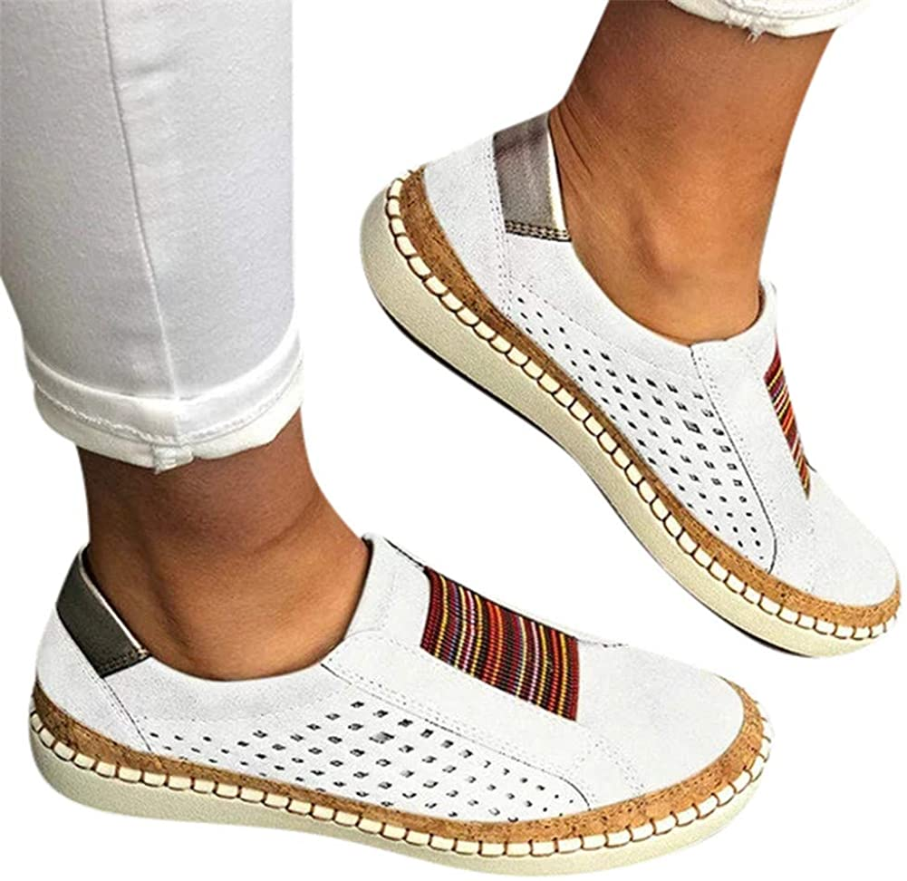 Women's Sneakers, Women Round Toe Canvas Flats Shoes Slip On Shoes Casual Sport Shoes Walkings Shoes Office Loafers