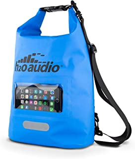 H2O Audio Floating Dry Bag, 100% Waterproof, Roll Top Closure with a Sealed Smart Phone Window Case,10L Sack for Swimming, Kayaking, Boating, Fishing, Camping and Hiking