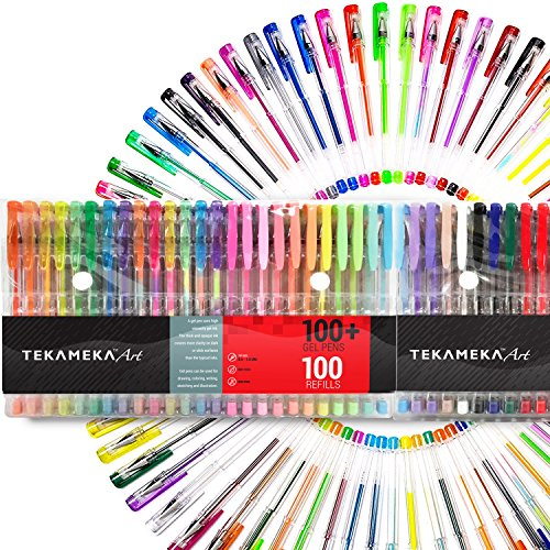 Tekameka Art Gel Pens Set 200 Pack (100 + 100 Refills) - Ink Pen Markers for Drawing and Adult Coloring Books