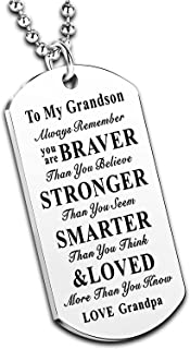 Nimteve Inspirational Necklace Stainless Steel Dog Tag Always Remember You are Braver to My Granddaughter Grandson Gifts f...
