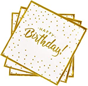 Gatherfun Birthday Party Supplies Napkins Disposable Paper Napkins with Gold Stamping for Adults and Kids Birthday Party(6.5X6.5 in, 3-Ply, 50-Pack)