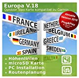 Europa V.18 Carte de topo professionnelle pour Garmin Fenix 5, Fenix 5s, Fenix Plus
