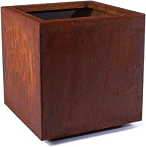Veradek Metallic Series Corten Steel Medium Cube Planter, 22-Inch Height by 21-Inch Width by 21-Inch Length, Rust (CUVMEDCS)