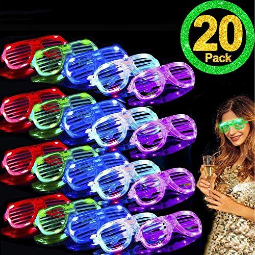 TURNMEON 20 Pack LED Glasses,5 Color Light Up Glasses Shutter Shades Glow Sticks Glasses Led Party...