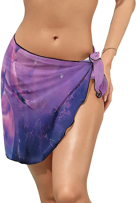 Women's Beach Sarongs Bikini Cover Ups Purple Light Dolphins Sea Sheer Swimwear Short Skirt