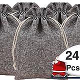24 pcs Navidad bolsa tela de saco 10 * 14cm bolsitas para regalos boda de fiesta bolsa cuerdas para ...